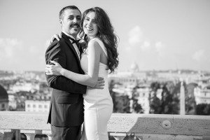 Happy loving couple embrace on Rome vacation, photos by TripShooter Rome photographer Alex Marchese