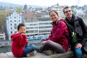 Tourist family photo in Zurich Switzerland, photo by TripShooter Zurich photographer Cloudia Chen.