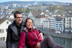 Tourist couple on vacation in Switzerland, photo by TripShooter Zurich photographer Cloudia Chen.