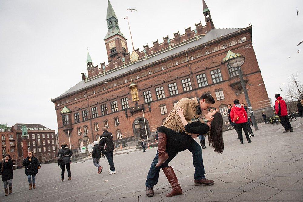Romantic dancing in Copenhagen's main square, photo by TripShooter's photographer in Copenhagen Matthew Harrison