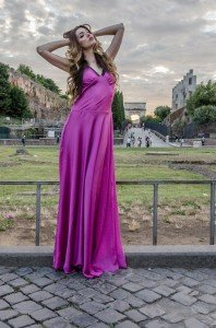 Woman in pink dress posing for Rome photoshoot, photo by TripShooter's Rome Photographer Bob Fiore