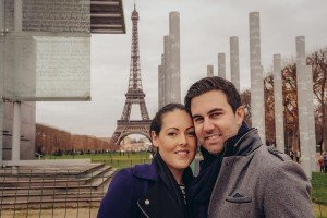 Holiday couple together at Eiffel Tower by TripShooter Paris photographer Pierre Turyan