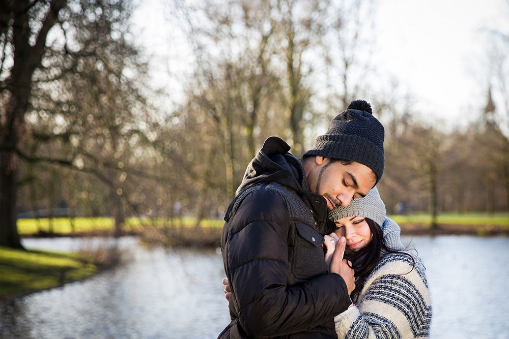 Emotional couple moments after surprise proposal, photo by TripShooter Amsterdam photographer Elena Pasca