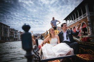 Married couple in Venetian gondola, photo by TripShooter Venice photographer Jody Riva