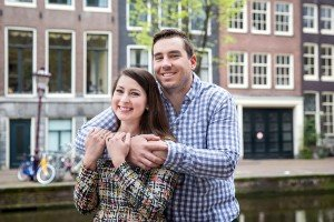Travelling couple in Amsterdam by TripShooter's Amsterdam photographers Elena Pasca and Radu Voineau