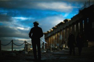 Dusk silhouette photo of man travelling at Greek ruins by TripShooter's Athens photographer Andreas Stavropoulos