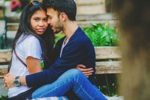 Couple embracing on park bench by TripShooter's Athens photographer Andreas Stavropoulos