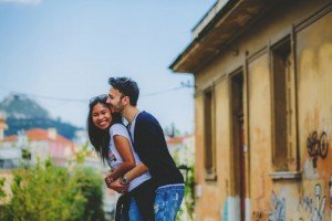 Romantic couple kiss in Athens by TripShooter's Athens photographer Andreas Stavropoulos