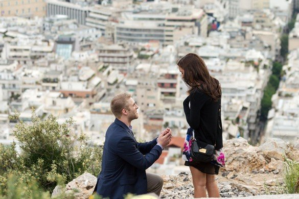 Marriage proposal photo shoot of man on one knee in Athens by Athens photographer Dimitris Giouvris