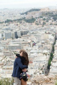 Marriage proposal photo shoot of couple hugging in Athens by Athens photographer Dimitris Giouvris