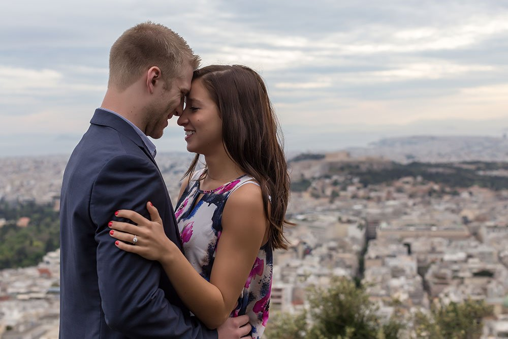 Romantic engagement photoshoot in Athens by TripShooter's Athens photographer Dimitris Giouvris