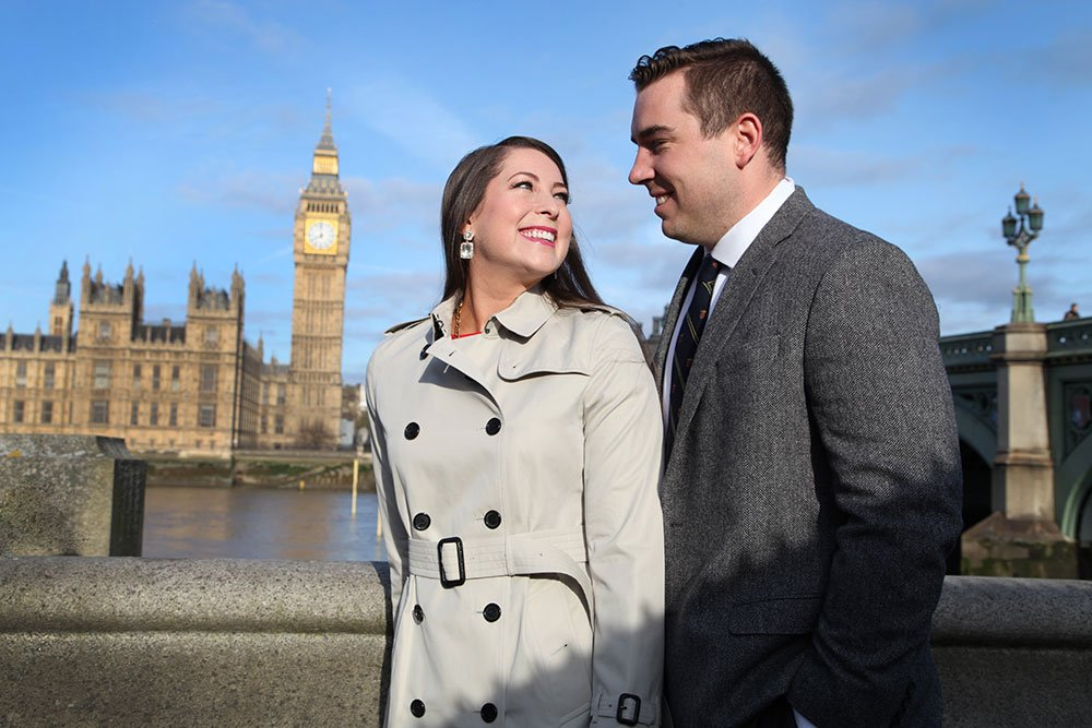 London couple photoshoot with Big Ben by TripShooter's London photographer Poppy Carter