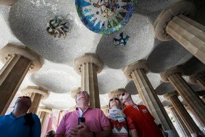 Travel family with ornate ceiling, by Ramon Fornell photographer in Barcelona