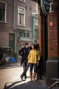 Portrait of couple on Amsterdam street, by TripShooter's photographer in Amsterdam, Adrienne Norman