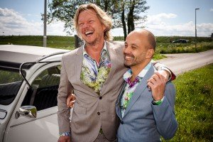 Laughing groomsmen, by TripShooter's photographer in Amsterdam, Adrienne Norman
