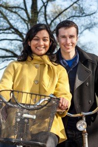 Portrait of couple on bicycle, by TripShooter's photographer in Amsterdam, Adrienne Norman