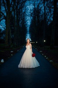 Bride at dusk photoshoot, by TripShooter's Edinburgh photographer Sean Bell