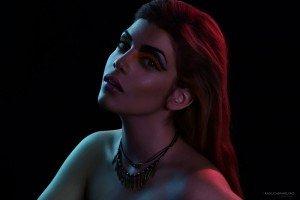 Fashion portrait - red and purple - by TripShooter's Amsterdam photographer Radu Carnaru