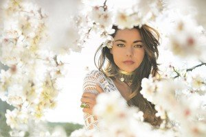 Fashion photo of woman in white flowers by TripShooter's Ibiza photographer Tamas Kooning