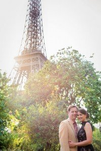 Romantic honeymoon photos at Eiffel Tower with sunlight, by Paris photographer Jade Riviere