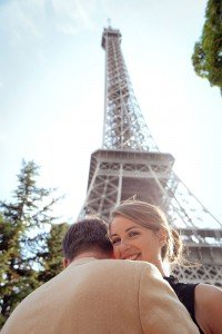 Sweet honeymoon photos at Eiffel Tower embracing, by Paris photographer Jade Riviere
