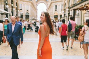 Happy smiling woman in Milan fashion shoot with TripShooter's Milan photographer Alessandro Della Savia