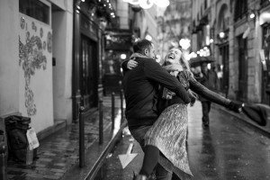Beautiful portrait of couple dancing in Paris street, photo by TripShooter's photographer in Paris, Christian Perona