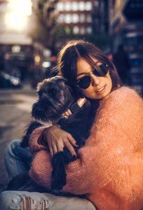 Portrait of travel woman with dog, by TripShooter's Budapest photographer Oliver Sin