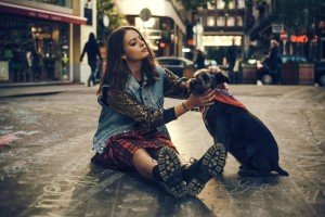 Fashion style photo session in Budapest of woman on city street with dog, by TripShooter's Budapest photographer Oliver Sin