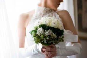 Stunning destination wedding photo portrait of bride and bouquet by Venice photographer Filippo Ciappi