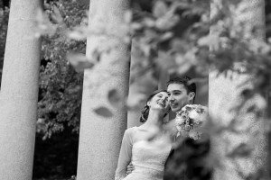 Happy bride and groom laugh together, portrait by TripShooter's photographer in Vienna, Maria Harms