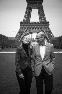 Romantic couple photos by the Eiffel Tower, by Paris photographer Sophia Pagan