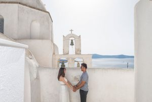 Unique and romantic destination wedding photo shoots in Santorini Greece by TripShooter's Santorini photographer Ioannis Pananakis