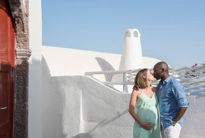 Beautiful pregnancy belly photo shoots in Santorini Greece by TripShooter's Santorini photographer Ioannis Pananakis